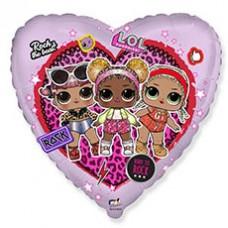 Гелиевый шар Сердце розовое Куклы ЛОЛ