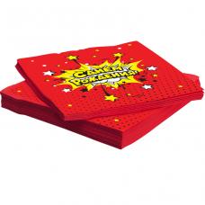Салфетки С Днем Рождения! (взрыв), Красный 33*33 см, 20 шт.