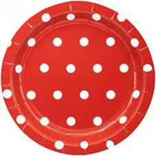 Тарелки 6 шт. красные горошек 17 см