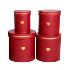 Коробка цилиндр рис.сердечки, бордо В-2 (H16хD16)