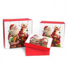 Коробка НГ квадрат Дед Мороз с оленем СРЕДНЯЯ 18х18х8,5