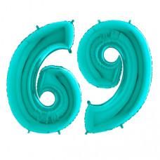 Grabo Цифра 6 или 9 102 см. Бирюзовые Tiffany ВЗ гелиевый шарик