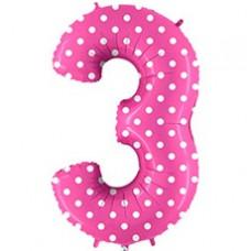 Grabo цифра розовая в горошек 3 гелиевый шарик