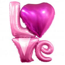 """Фольгированные цифры Надпись """"LOVE"""", Розовый голография"""