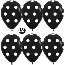 ПОШТУЧНО гелиевый шар Колумбия Sempertex 12 дюймов пастель Белые точки, Черный (080), пастель, 5 ст,