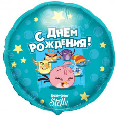 Conver Круг С ДР Angry Birds Stella голубой рус54 МФ  гелиевый шарик
