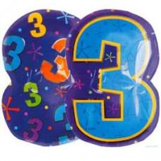 А Цифра 3 Фигура Мульти  гелиевый шарик