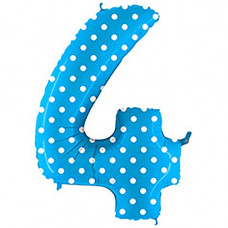 Grabo цифра голубая в горошек 4 ВЗ гелиевый шарик