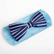 Галстук-бабочка, синяя в полоску, 6 х12 см, п/э