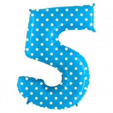 Grabo цифра голубая в горошек 5 гелиевый шарик