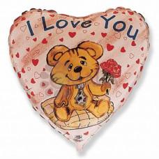 I love you Медвежонок с розой  гелиевый шарик