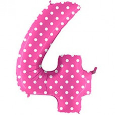 Grabo цифра розовая в горошек 4 гелиевый шарик
