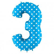 Grabo цифра голубая в горошек 3 гелиевый шарик