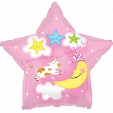 CTI Розовая звезда это девочка луна  гелиевый шарик