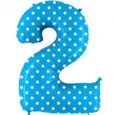 Grabo цифра голубая в горошек 2 гелиевый шарик