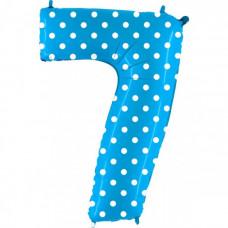 Grabo цифра голубая в горошек 7 ВЗ гелиевый шарик