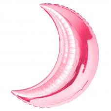 71 см. Фигура, Полумесяц, Розовый гелиевый шарик
