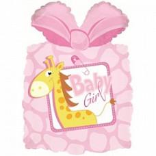 71 см Подарок новорожденной девочке Жираф, Розовый дб гелиевый шарик