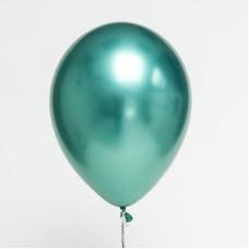 ПОШТУЧНО 30 см.  хром, КРУГЛЫЙ  шарики с гелием  ТИФАНИ БИРЮЗА ЗЕЛЕНЫЙ